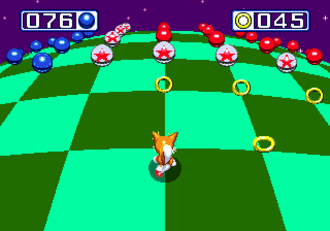 Sonic the Hedgehog 3 - Tails in one of the special stages, in which the player can earn Chaos Emeralds