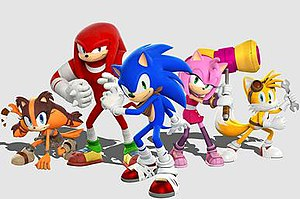 Sonic Boom (TV series) - Sonic Boom features characters redesigned for Western audiences. From left to right: Sticks (a new character to the series), Knuckles, Sonic, Amy, and Tails.