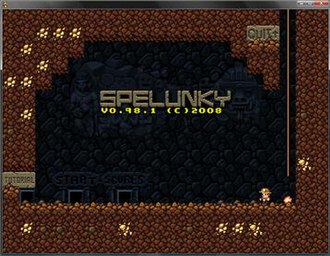 Spelunky - Title screen of the original Windows game
