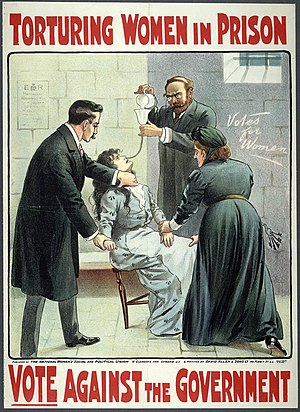 Lilian Lenton - A Suffragette being force fed, in a contemporary poster