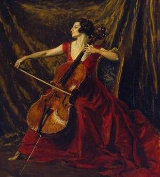 Noël Gilford Adeney - Suggia by Augustus John wearing a garment by Noel Gilford Adeney