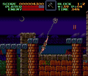 Super Castlevania IV - The whip is a large part of Super Castlevania IVs gameplay.