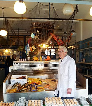 Pitshanger - Ted Saunders, who was a traditional fishmonger in Pitshanger for over 50 years.