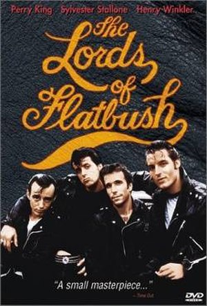 The Lords of Flatbush - DVD cover. Left to right: Perry King; S. Stallone; Henry Winkler; Paul Mace