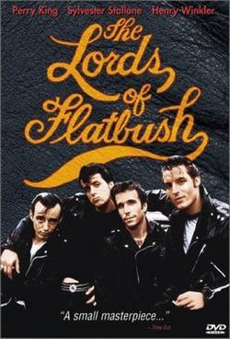 The Lords of Flatbush - DVD cover. Left to right: Paul Mace; S. Stallone; Henry Winkler; Perry King