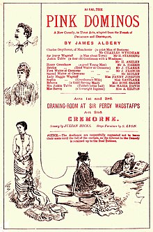 Theatre programme, with line drawings of characters from the play, plus a cast list, headed by Wyndham