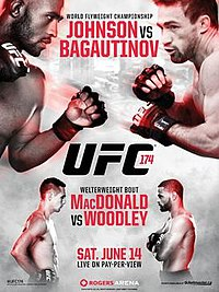 A poster or logo for UFC 174: Johnson vs. Bagautinov.