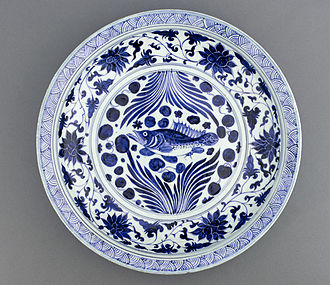 Ayurbarwada Buyantu Khan - A Yuan Dynasty blue-and-white porcelain dish with fish and flowing water design, mid-fourteenth century, Freer Gallery of Art.