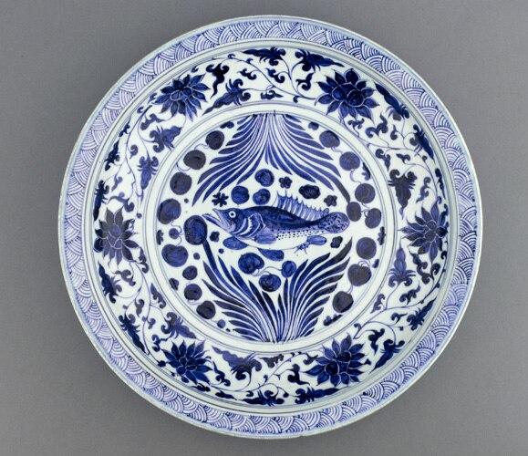 Yuan Dynasty, porcelain dish, mid 14th century