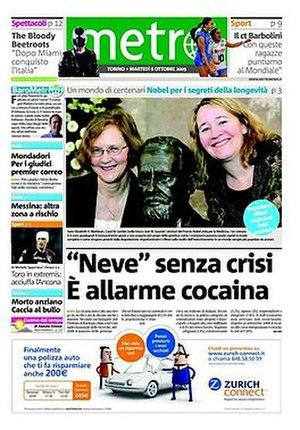 Metro (Italian newspaper) - Image: 20091006 metroitaly frontpage