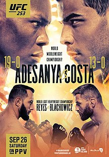 UFC 253: Adesanya vs. Costa Fight Poster