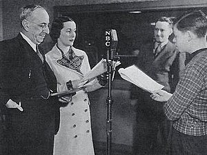 Vic and Sade - Vic and Sade rehearsal; from left: Art Van Harvey, Bernardine Flynn, Paul Rhymer and Bill Idelson