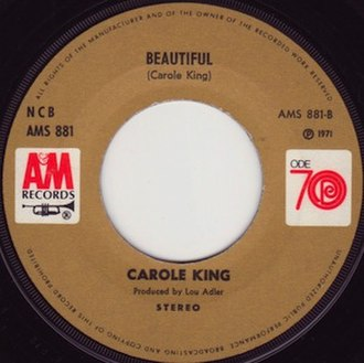 Beautiful (Carole King song) - Image: Beautiful Carole King single label