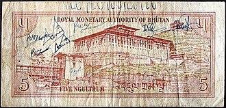 Bhutanese ngultrum - Image: Bhutan 5 Ngultrum back