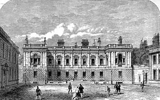 Burlington House - Engraving of the façade designed by Colen Campbell, in Vitruvius Britannicus, iii, 1725