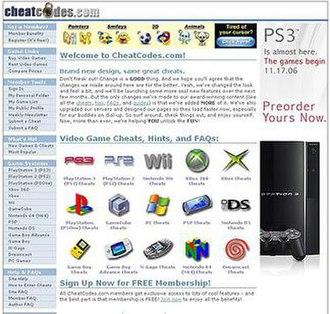 CheatCodes.com - Image: Cc screenshot 784