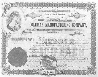 Coleman Manufacturing Company - A Coleman Manufacturing Company stock certificate from 1899