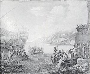 Relief of Genoa - Troops Embarking on a Galley in the Port of Genoa, engraving by Cornelis de Wael circa 1630.
