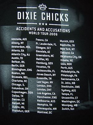Accidents & Accusations Tour - The tour T-shirt shows yet another idea of the itinerary, including never-announced European dates.