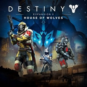 Destiny post-release content - Cover art featuring the game's three character classes: Hunter (left), Warlock (center), and Titan (right). Skolas is in the background.