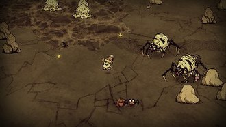 Don't Starve - Wolfgang, an unlockable character, runs from a cadre of spider queens and their young at dusk.