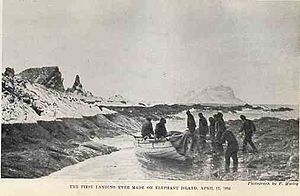 Voyage of the James Caird - Shackleton's party arriving at Elephant Island, April 1916, after the loss of Endurance
