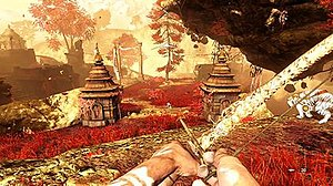 Far Cry 4 - The Shangri-La section features a color scheme that is different from Kyrat. It is mostly made up of gold, red, orange, white and blue.