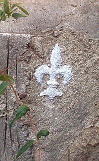 Fleur-de-lis on an old concrete wall
