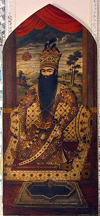 Iranian Crown Jewels - Fat′h-Ali Shah Qajar with the Royal Mace of Iran at his knees