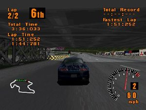 Gran Turismo (video game) - Gameplay screenshot featuring a Mitsubishi FTO GPX on Trial Mountain Circuit