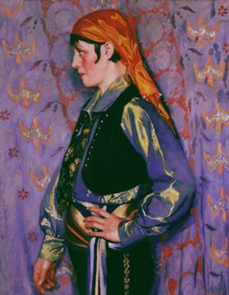 "Wilbur G. Adam - Gypsy Girl was painted in 1927 and is an example of Adam's oeuvre. ""Its bright palette and the decorative, graphic pattern on the background reflect his interest in design. His ability as a painter can be seen in the way he captured the reflections of the sumptuous satin of the gypsy's headdress and top."" Cincinnati Art Museum"