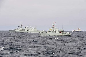 HMCS Goose Bay - Image: HMCS Montreal, HMCS Goose Bay and United States Coast Guard Cutter Alder shortly after departing from St. John's, Nfld., transiting towards the Arctic to participate in Operation NANOOK