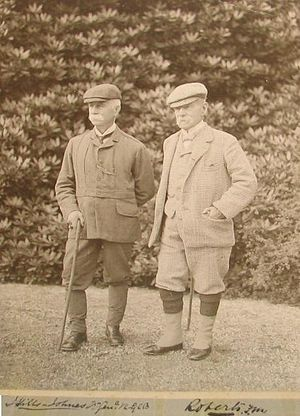 Dolaucothi Estate -  Sir James Hills-Johnes and Lord Roberts at  Dolaucothy in the early 20th century.