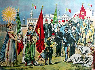 Italian Libya - An Italian drawing depicting Ottoman officials surrendering Libya to Italian colonial forces while Libyans prostrate themselves before the Italian colonial soldiers, 1912.