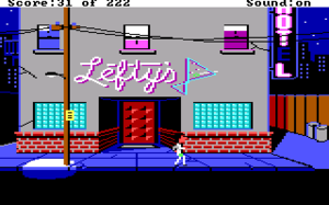 Leisure Suit Larry in the Land of the Lounge Lizards - The game's starting scene (EGA)