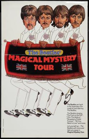 Magical Mystery Tour (film) - 1974 re-release theatrical movie poster for Magical Mystery Tour by New Line Cinema, Mystical Films.