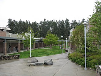 Meadowdale High School (Washington) - The main corridor of Meadowdale. The library and the C unit are visible on the left, and Commencement Hall (housing the D, E, and F units where most classes take place) is visible on the right.