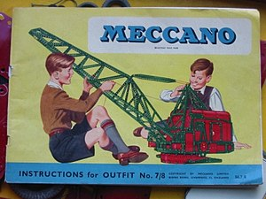 Meccano - Instruction book for the 1956 Meccano No. 7 and 8 Outfits, showing a model of a walking drag line excavator built with the red and green Meccano pieces of the time.