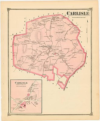 Carlisle, Massachusetts - An 1875 map of Carlisle