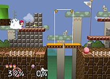A scenery full of platforms, blocks and fences in the style of the Super Mario Bros. video game. On a platform, a boy wearing a baseball cap throws a bolt of lightning, and in another stand a round, pink creature wearing red shoes stands still.