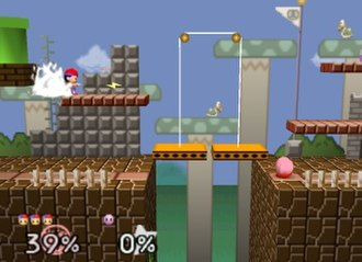 Super Smash Bros. - Ness from EarthBound facing Kirby on the stage based on the Mushroom Kingdom from Mario.