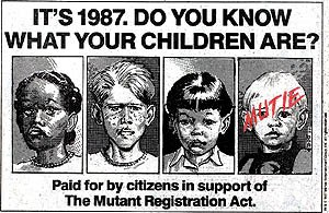 "Registration acts (comics) - A faux-advertisement for the ""Mutant Registration Act"" (featuring Franklin Richards labeled ""Mutie"") which ran in various Marvel Comics cover dated November 1987. Art by Jon Bogdanove."