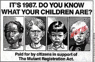 """The Fall of the Mutants - The faux-advertisement for the Mutant Registration Act. The """"mutie"""" is Franklin Richards. Art by Jon Bogdanove."""