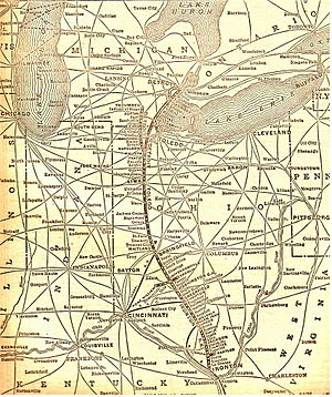 Detroit, Toledo and Ironton Railroad - Image: Old DT&I railway map