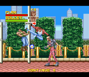 Rival Turf! - Flak is using his flying kick attack against Bullet, one of the weakest enemies in Rival Turf!.