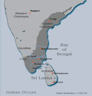 Rajaraja Chola II - Chola territories during 1170