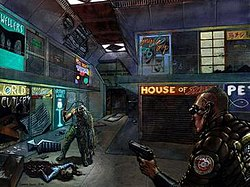 A green-cloaked man is staring from the right corner through black goggles to another deformed human being, who is close to a dead body of a woman laying on the floor along with several blood marks and some destroyed things.