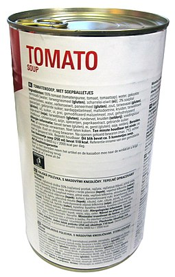 Canned tomato soup Tomato soup in a can ingredient list.jpg