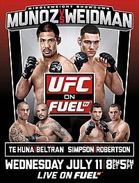 A poster or logo for UFC on Fuel TV: Munoz vs. Weidman.