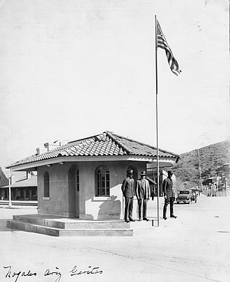 Nogales-Grand Avenue Port of Entry - US Customs officers outside their garita in Nogales AZ 1931